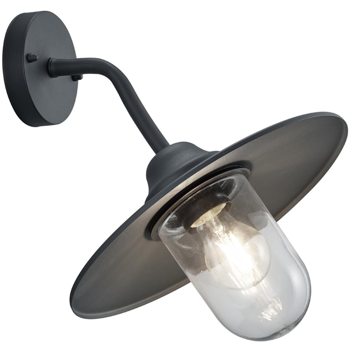 LED Tuinverlichting Tuinlamp Trion Brenionty Wand E27 Fitting Mat Zwart Aluminium