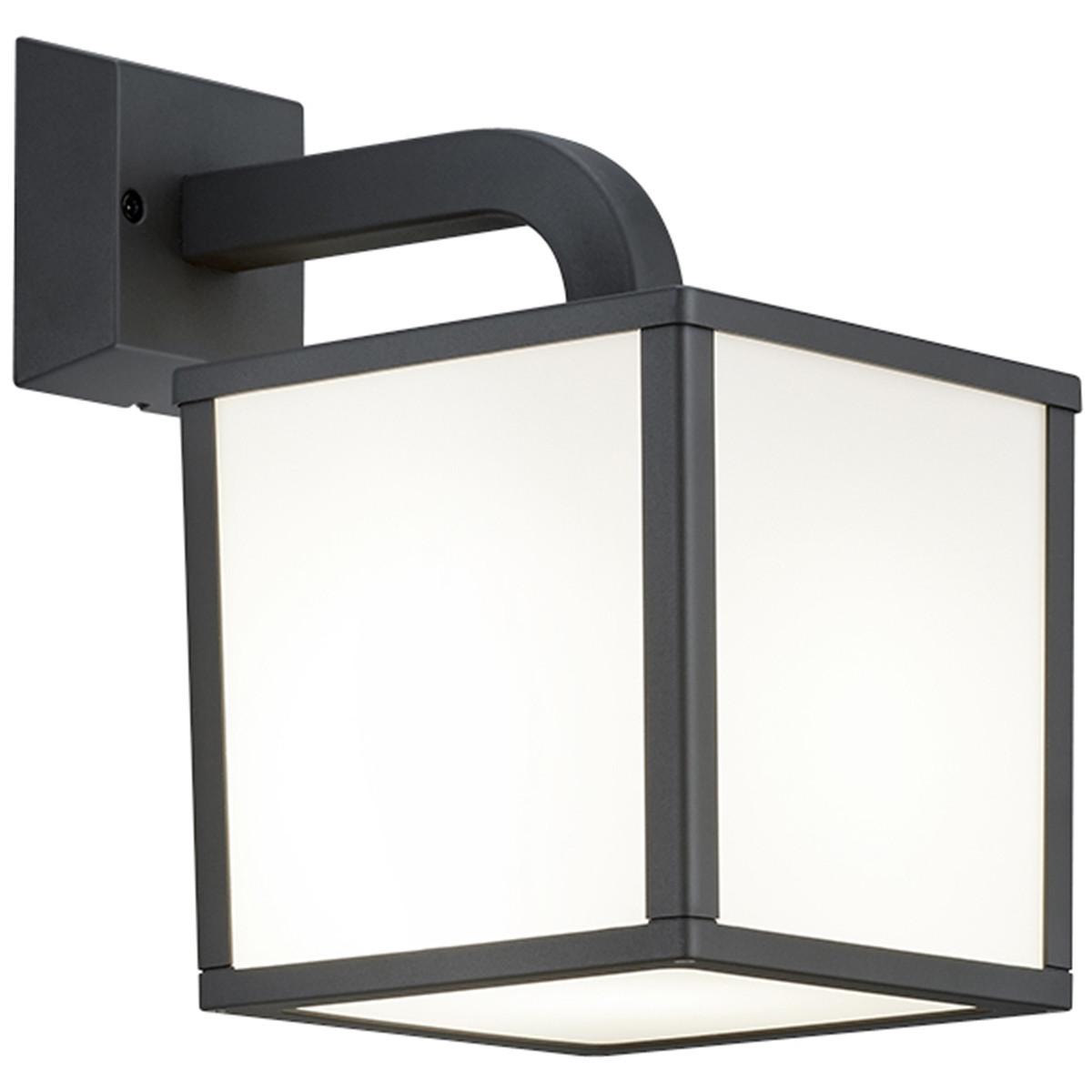 LED Tuinverlichting - Tuinlamp - Trion Cubirino - Wand - 5W - E27 Fitting - Mat Zwart - Aluminium