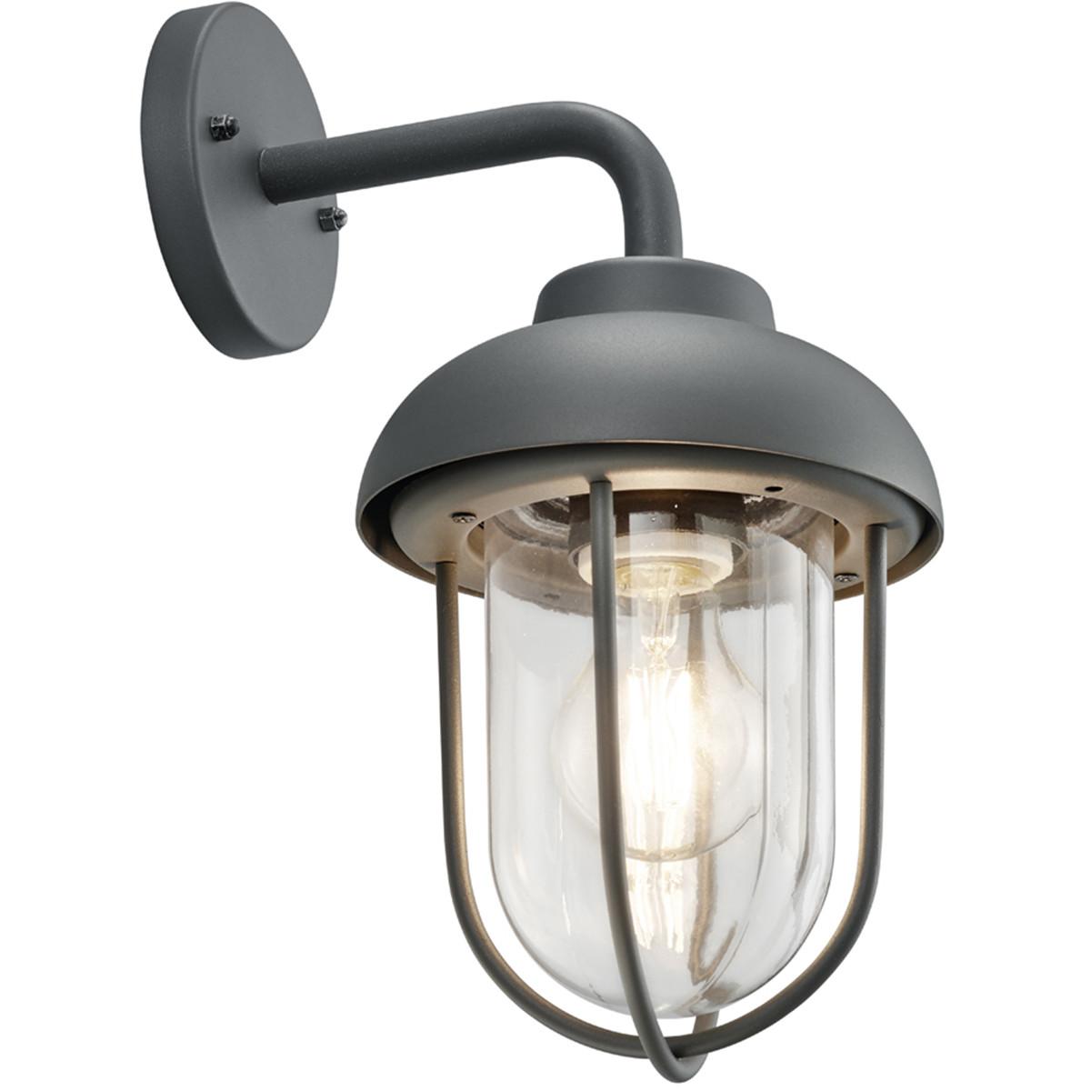 LED Tuinverlichting - Tuinlamp - Trion Dereuri - Wand - E27 Fitting - Antraciet - Aluminium