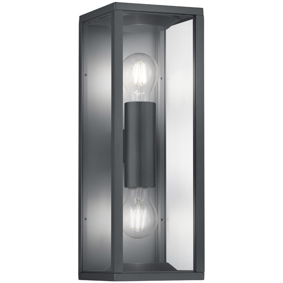 LED Tuinverlichting - Tuinlamp - Trion Garinola - Wand - E27 Fitting - 2-lichts - Mat Zwart - Alumin
