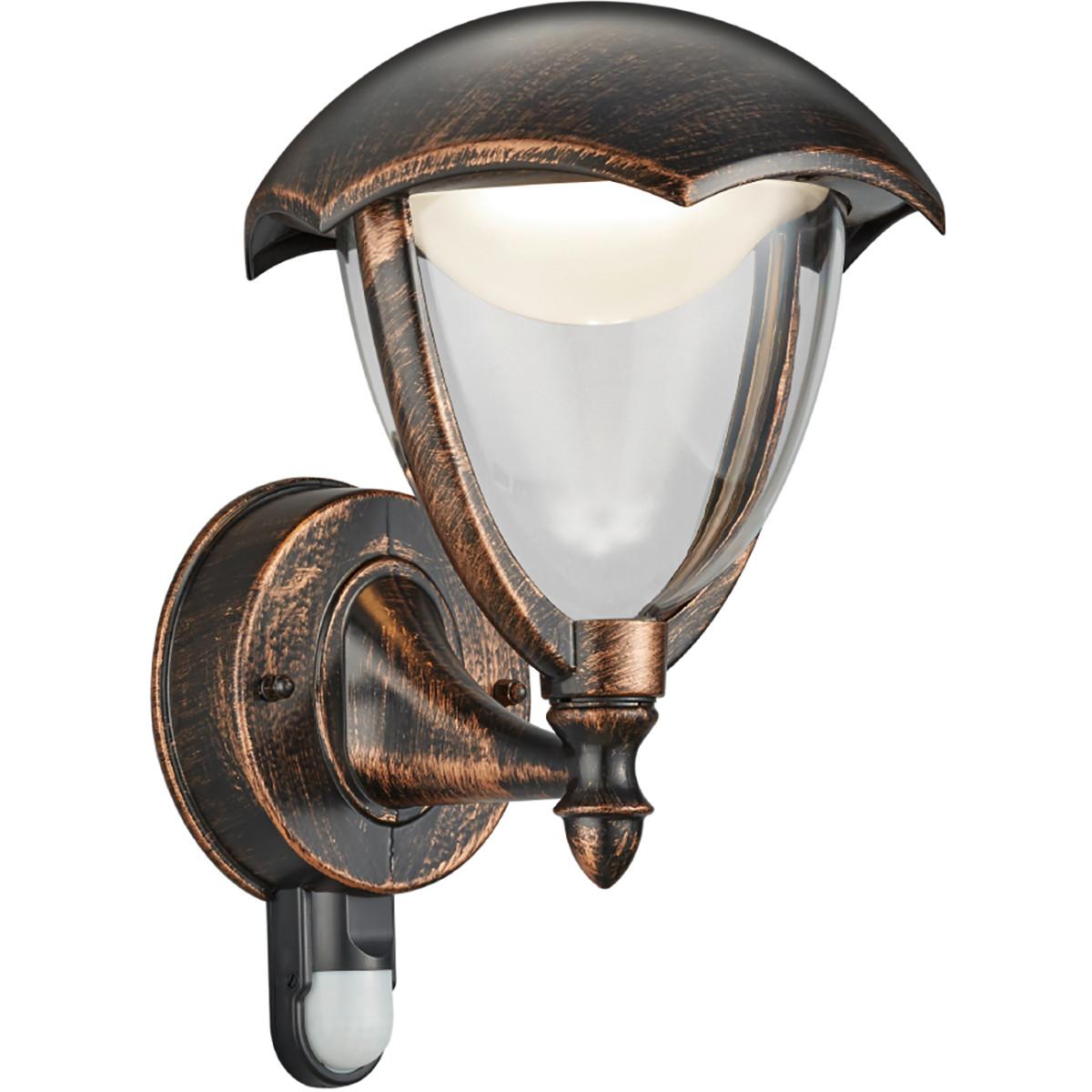 LED Tuinverlichting - Tuinlamp - Trion Grichto - Wand - Bewegingssensor - 6W - Antiek Roestkleur - A