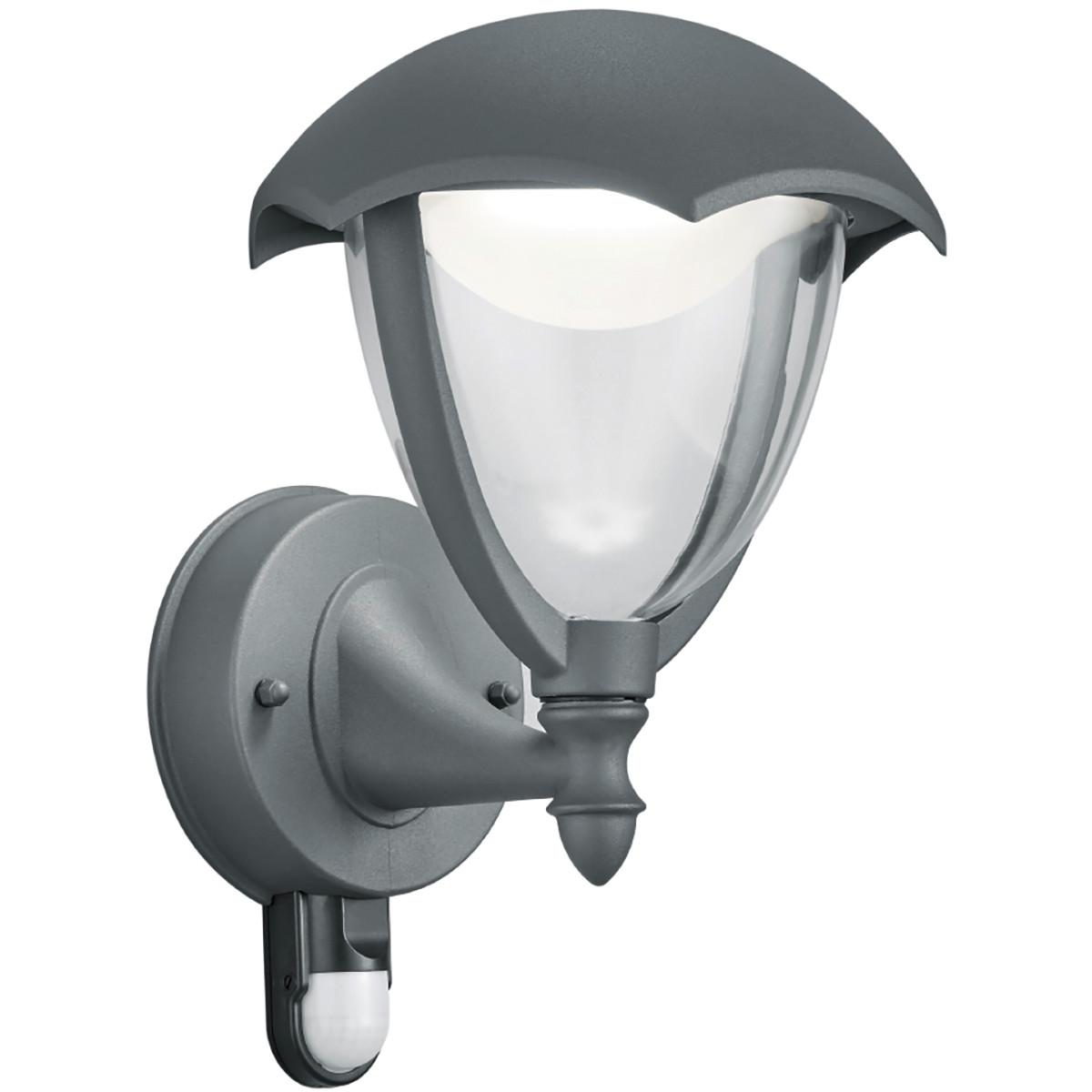 LED Tuinverlichting - Tuinlamp - Trion Grichto - Wand - Bewegingssensor - 6W - Mat Antraciet - Alumi