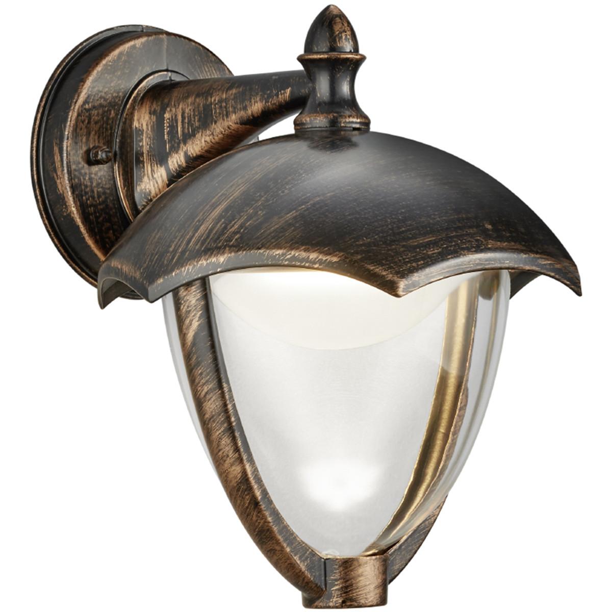 LED Tuinverlichting - Tuinlamp - Trion Grichto - Wand Omlaag - 6W - Antiek Roestkleur - Aluminium