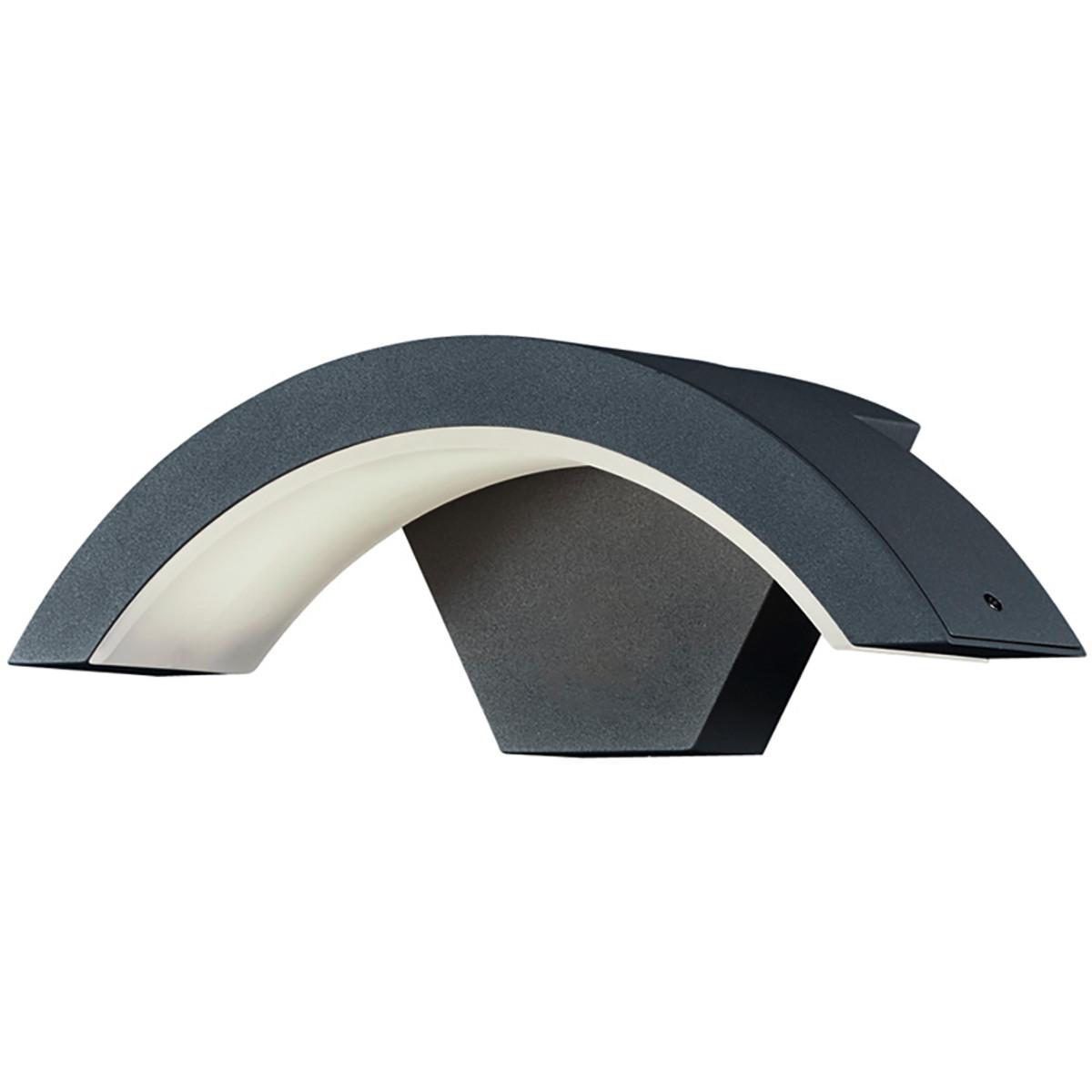 LED Tuinverlichting - Tuinlamp - Trion Hiarlon - Wand - 6W - Mat Zwart - Aluminium