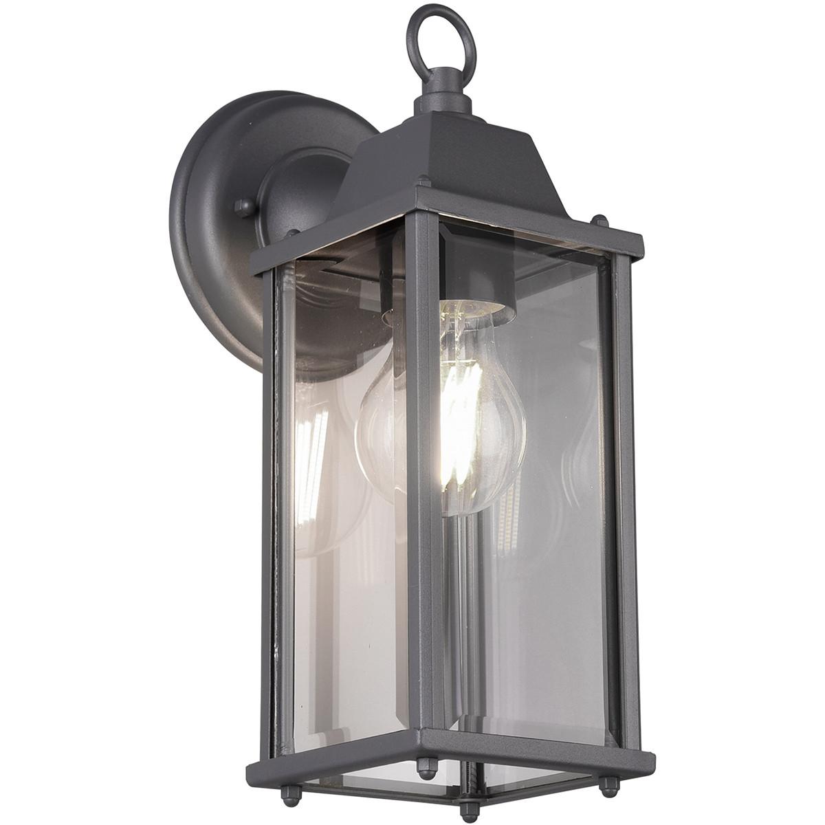 LED Tuinverlichting - Tuinlamp - Trion Olenany - Wand - E27 Fitting - Mat Zwart - Aluminium