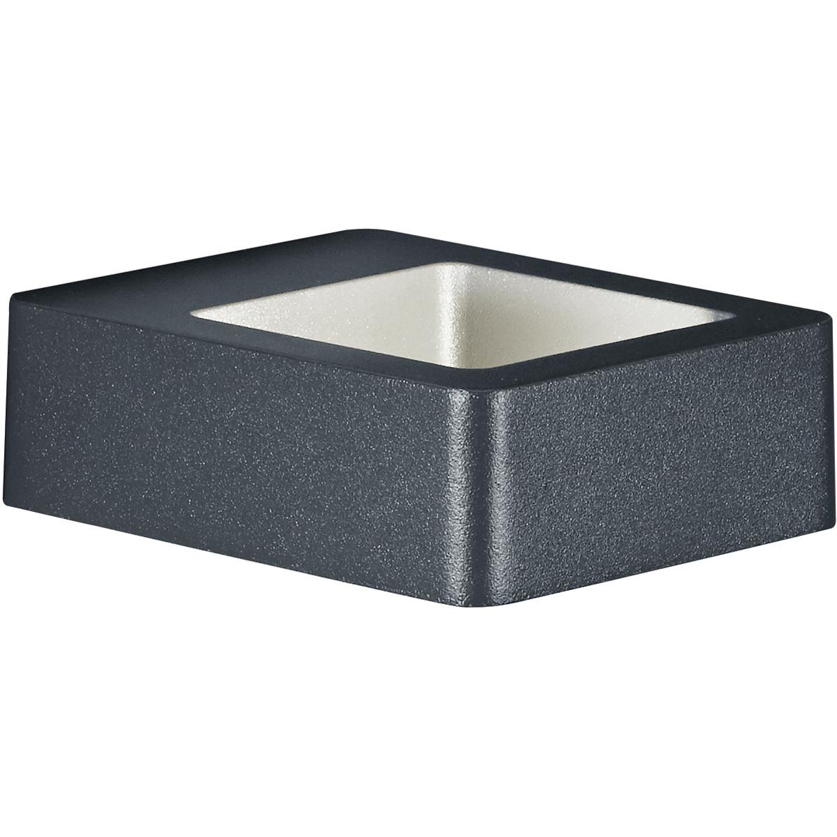 LED Tuinverlichting - Tuinlamp - Trion Riona - Wand - 4W - Warm Wit 3000K - Mat Zwart - Aluminium