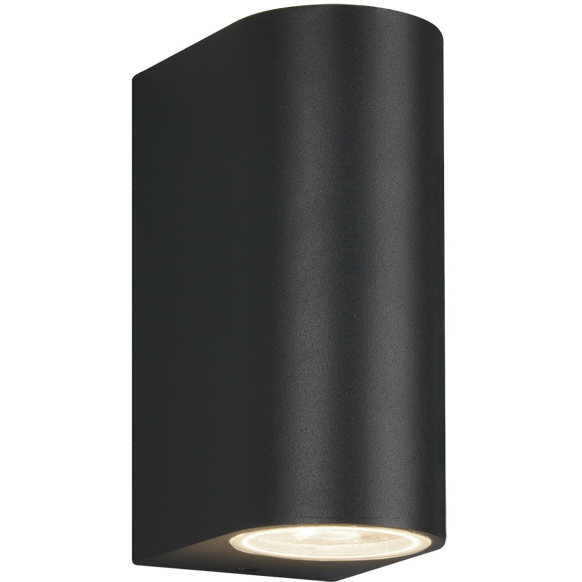 LED Tuinverlichting - Tuinlamp - Trion Royina - Wand - GU10 Fitting - Mat Zwart - Aluminium - Ovaal