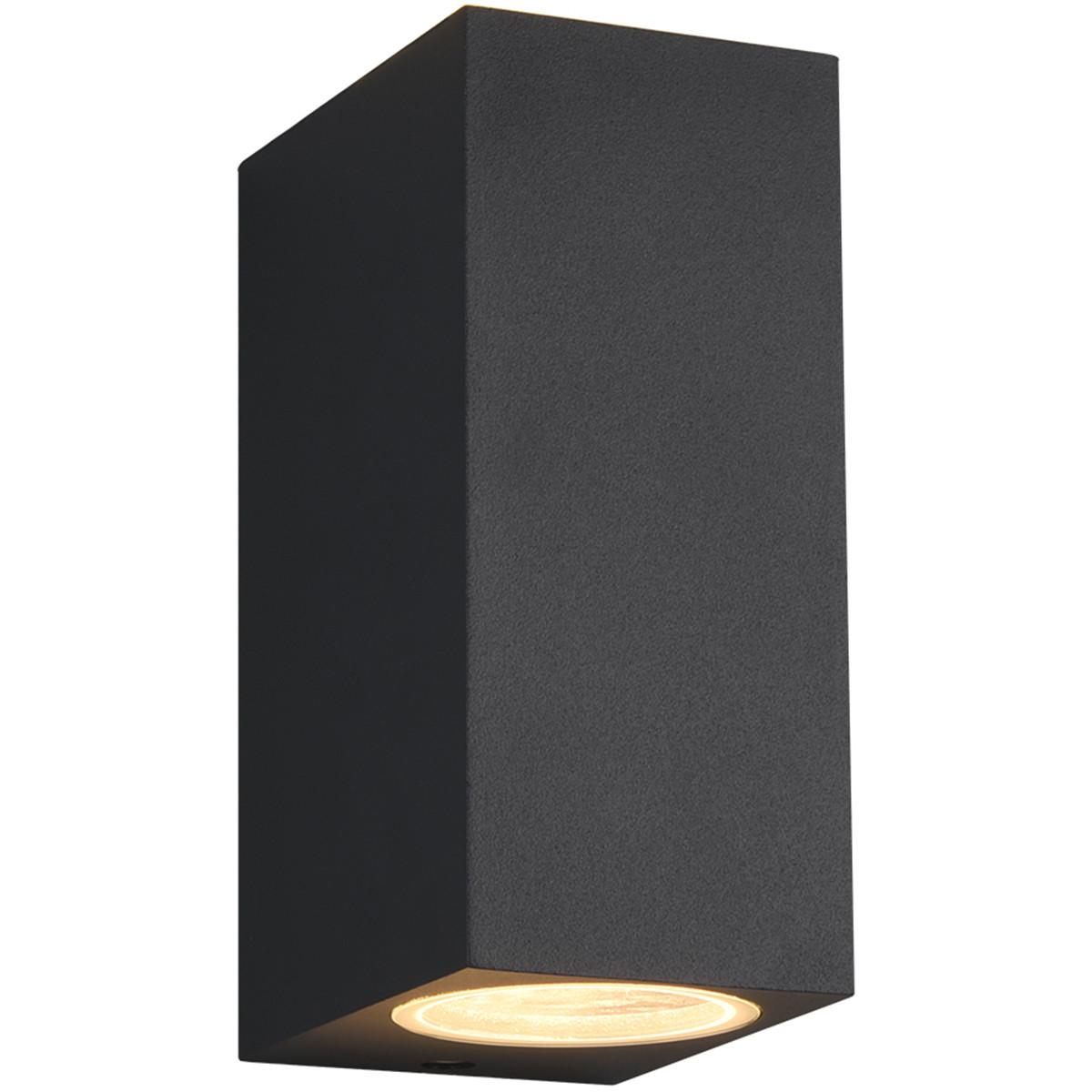 LED Tuinverlichting - Tuinlamp - Trion Royina - Wand - GU10 Fitting - Mat Zwart - Aluminium - Rechth
