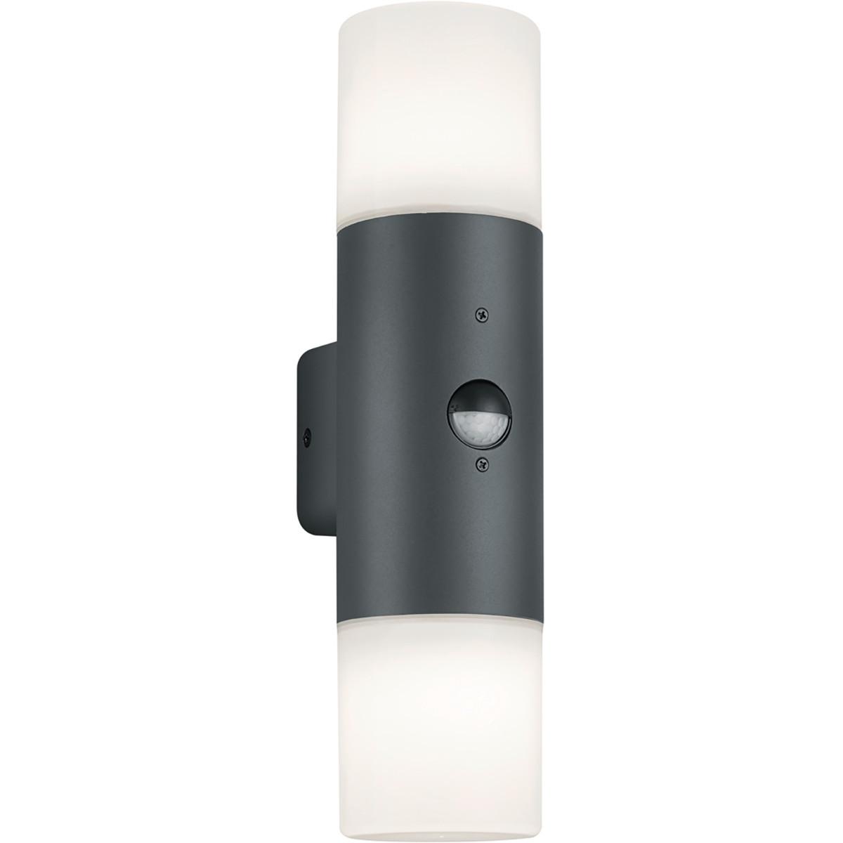 LED Tuinverlichting - Wandlamp - Trion Hosina - Bewegingssensor - E27 Fitting - 2-lichts - Mat Zwart