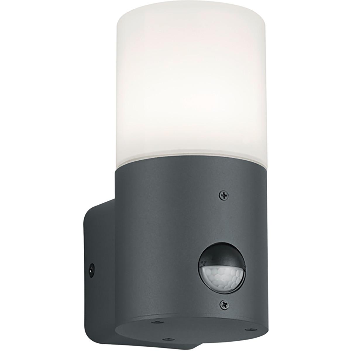 LED Tuinverlichting - Wandlamp - Trion Hosina - Bewegingssensor - E27 Fitting - Mat Zwart - Aluminiu