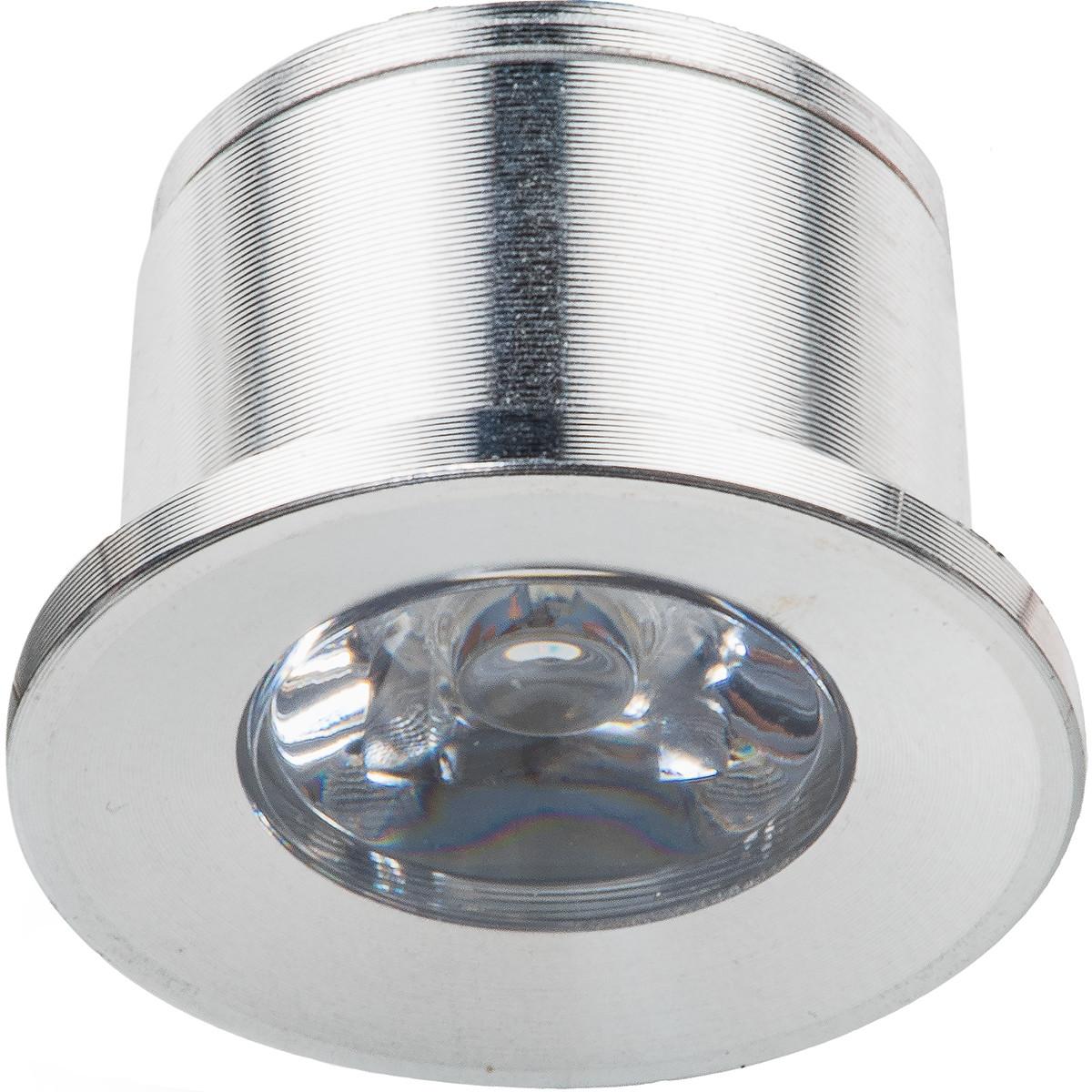 LED Veranda Spot Verlichting - 1W - Warm Wit 3000K - Inbouw - Dimbaar - Rond - Mat Zilver - Aluminiu