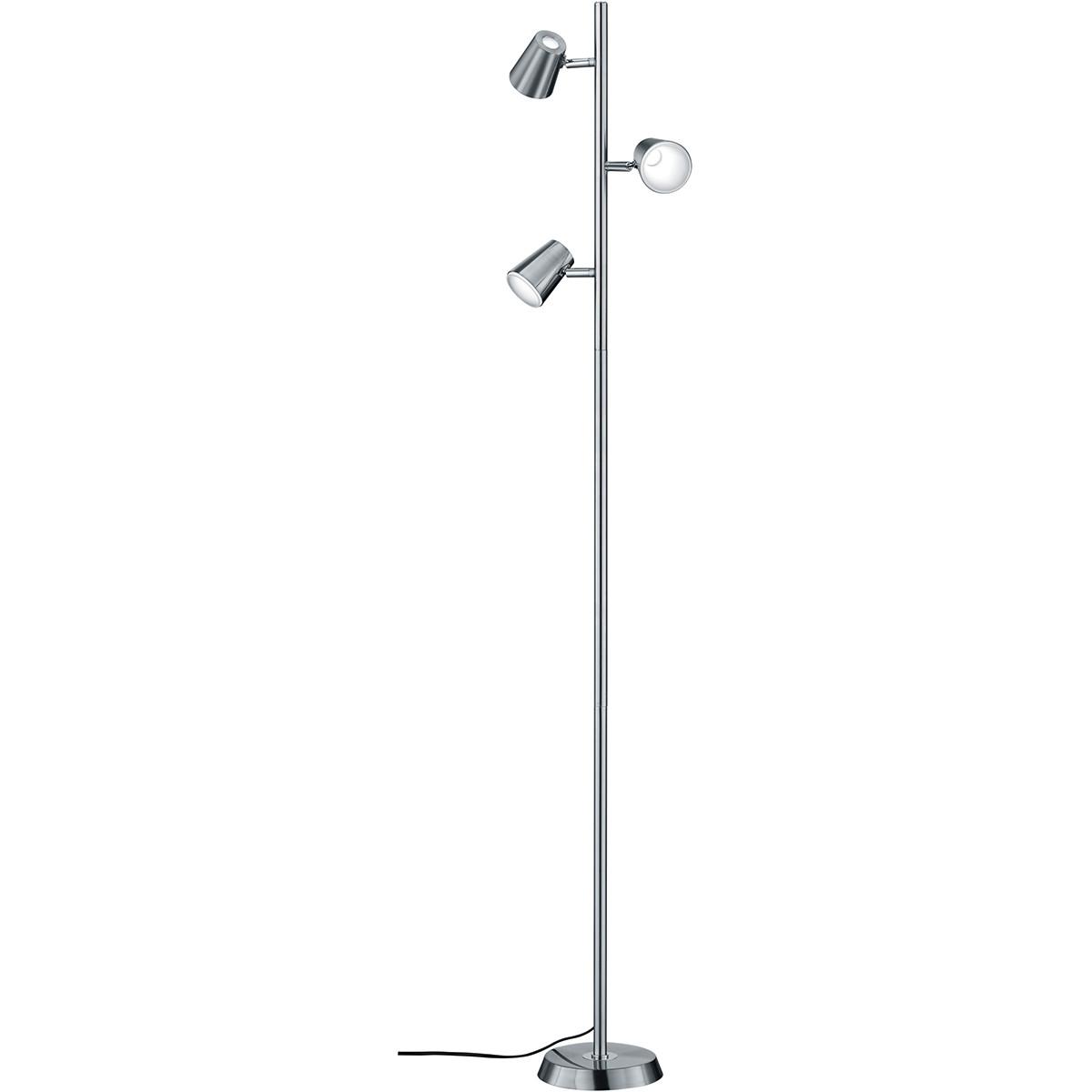 LED Vloerlamp - Trion Narca - 12W - Warm Wit 3000K - 3-lichts - Dimbaar - Rond - Mat Nikkel - Alumin