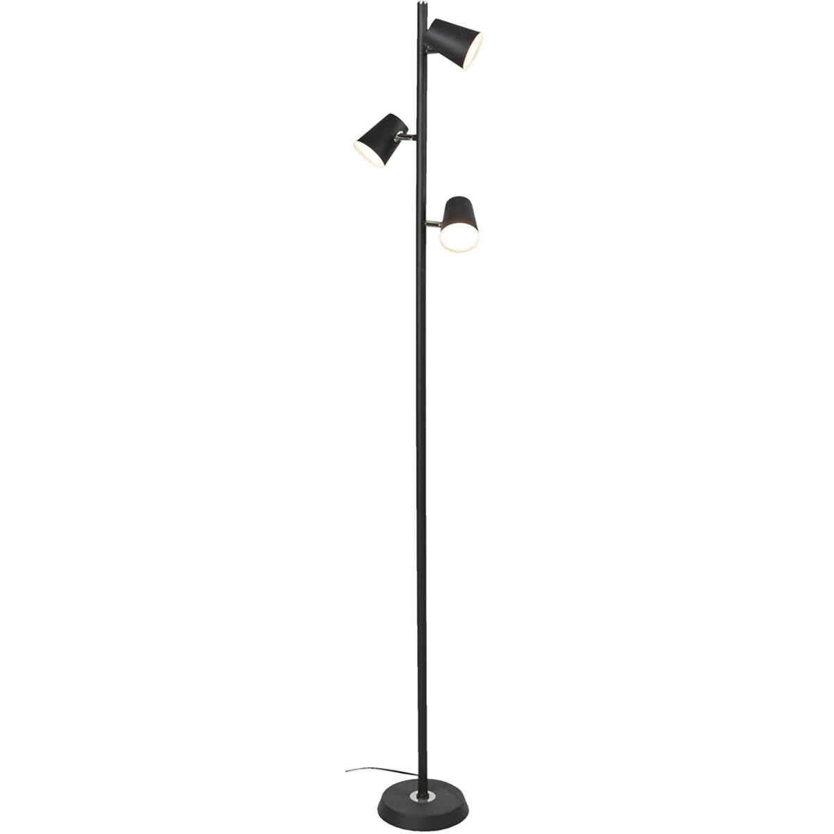 LED Vloerlamp - Trion Narca - 12W - Warm Wit 3000K - 3-lichts - Dimbaar - Rond - Mat Zwart - Alumini