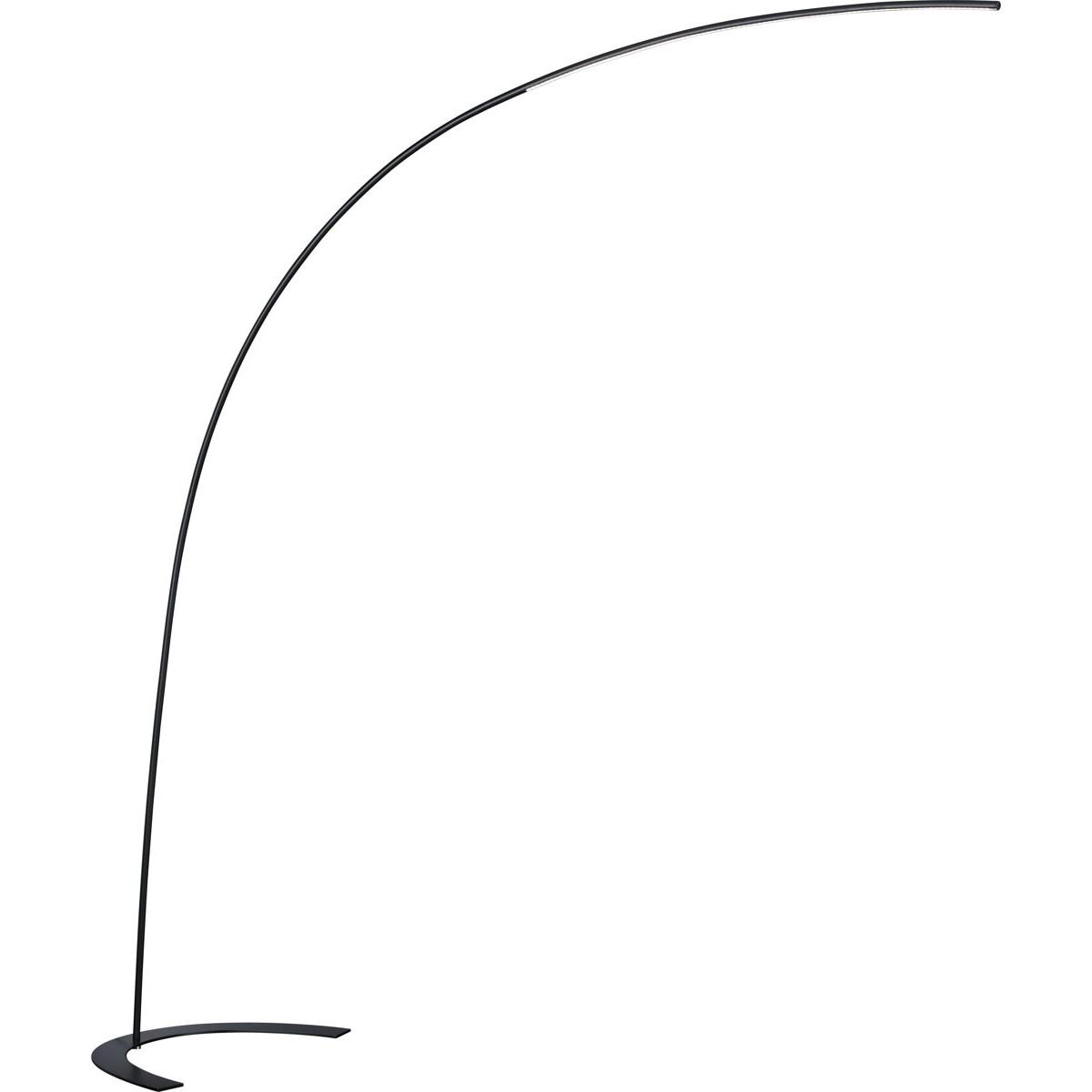 LED Vloerlamp - Trion Shio - 18W - Warm Wit 3000K - 1-lichts - Dimbaar - Rond - Mat Zwart - Aluminiu