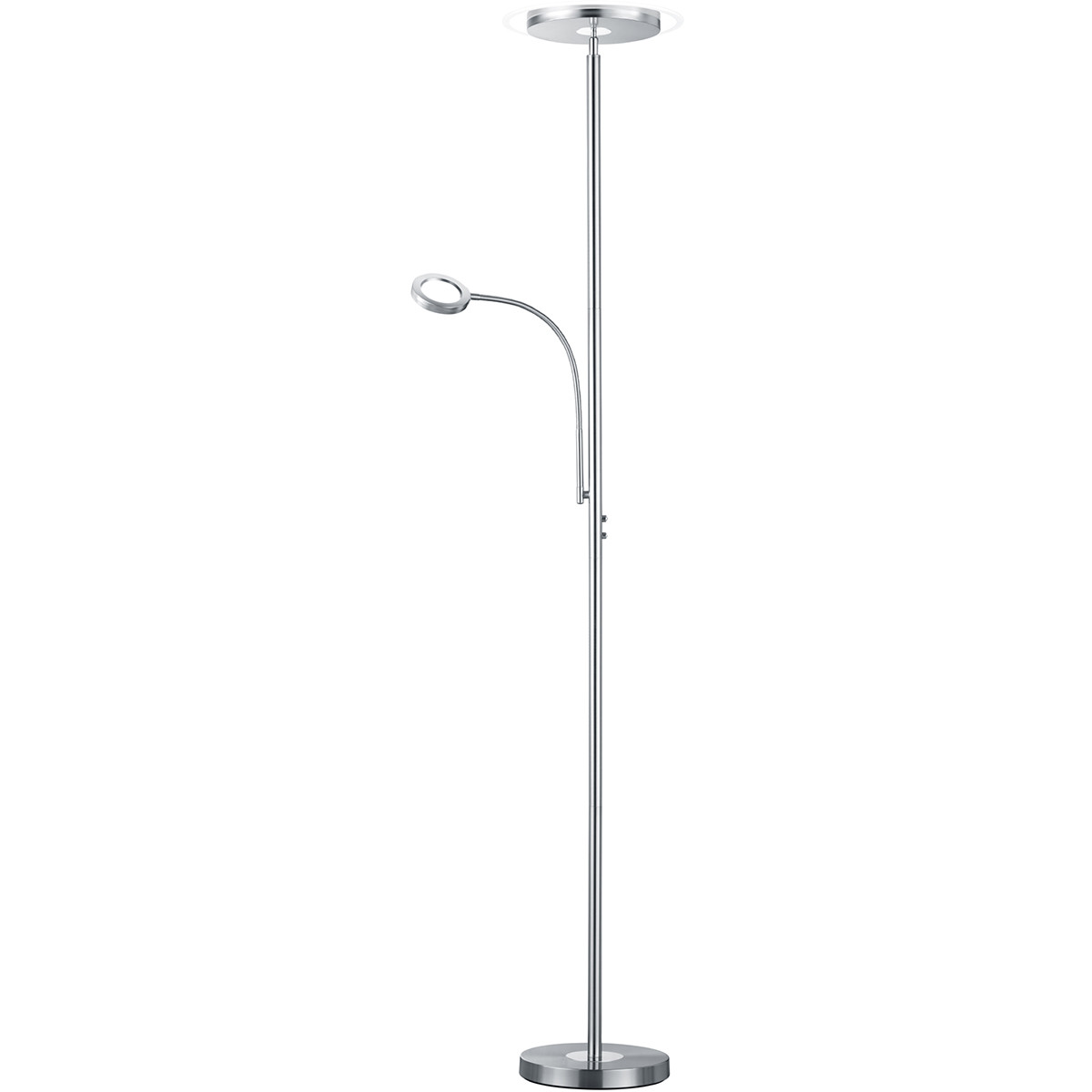 LED Vloerlamp - Trion Aciban - 18W + 4W - Warm Wit 3000K - 2-lichts - Dimbaar - Rond - Mat Nikkel -