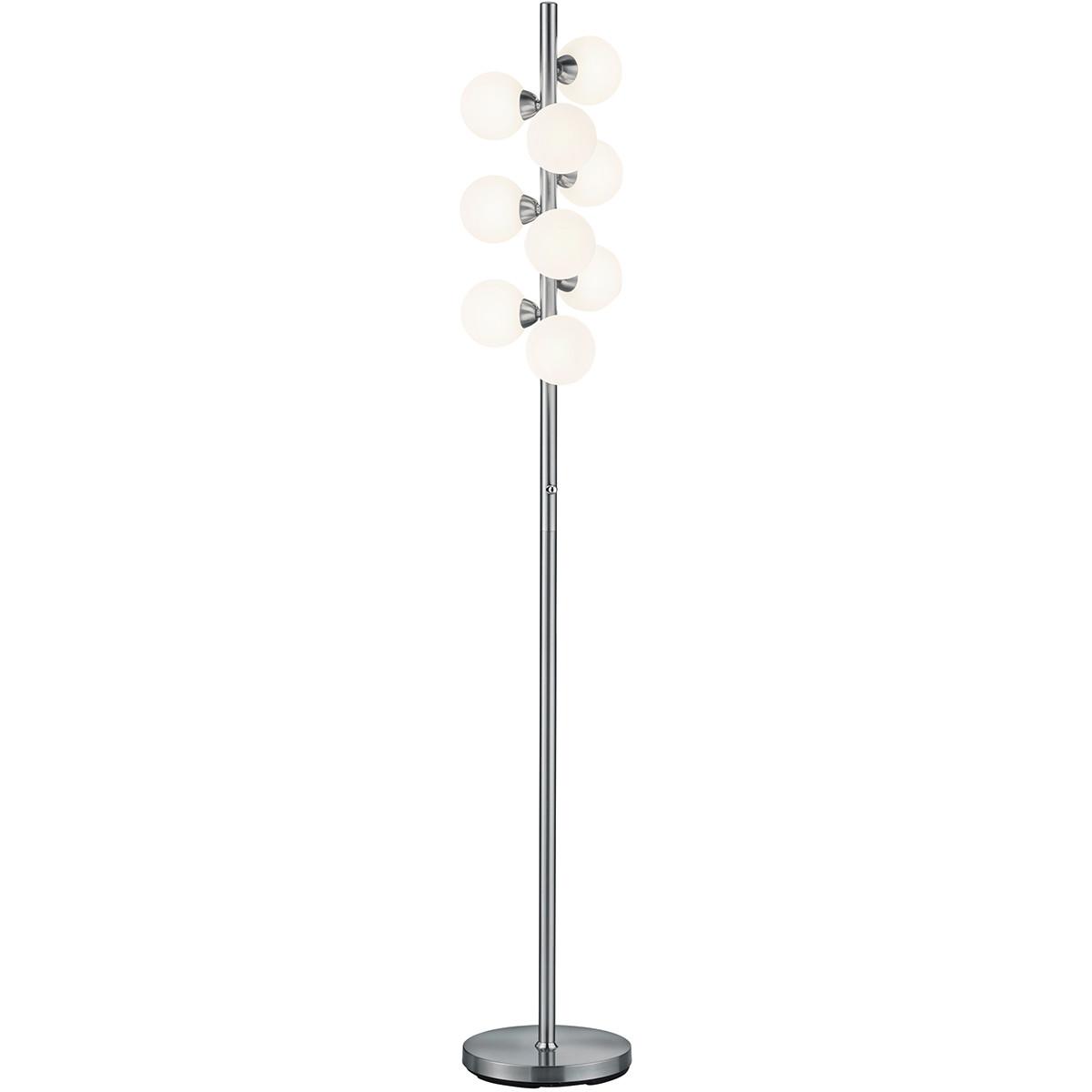 LED Vloerlamp - Trion Alionisa - G9 Fitting - 9-lichts - Dimbaar - Rond - Mat Nikkel - Aluminium