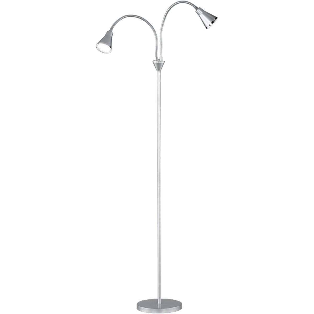 LED Vloerlamp - Trion Arora - 6W - Warm Wit 3000K - 2-lichts - Rond - Mat Titaan - Kunststof