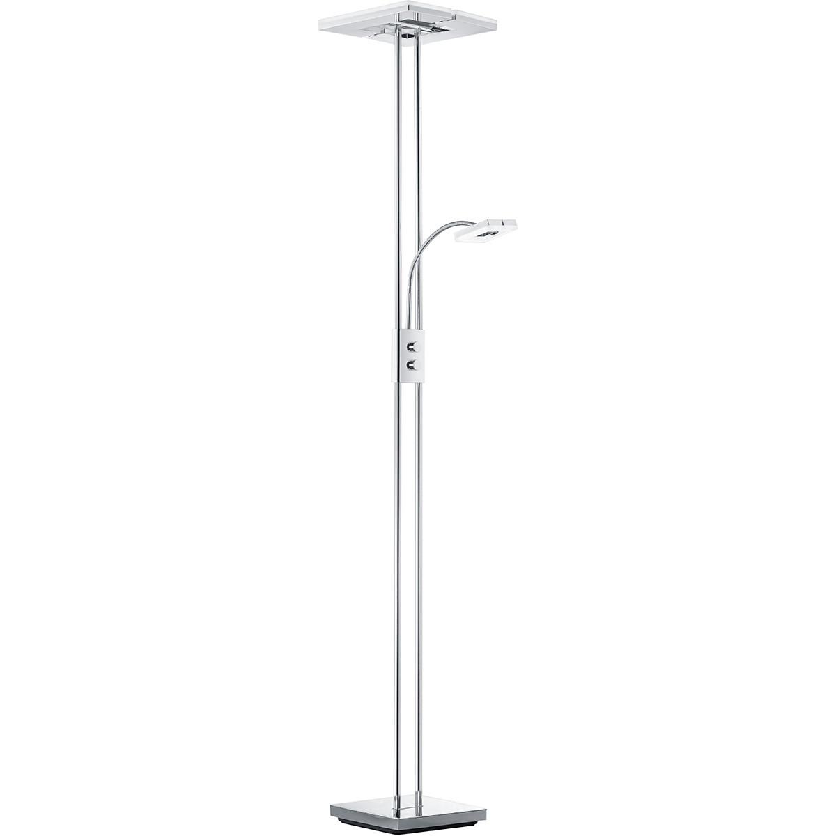 LED Vloerlamp - Trion Avinago - 20W + 4W - Warm Wit 3000K - 2-lichts - Dimbaar - Vierkant - Glans Ch