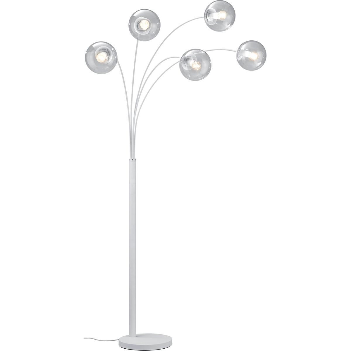 LED Vloerlamp - Trion Balina - E14 Fitting - Rond - Mat Wit - Aluminium