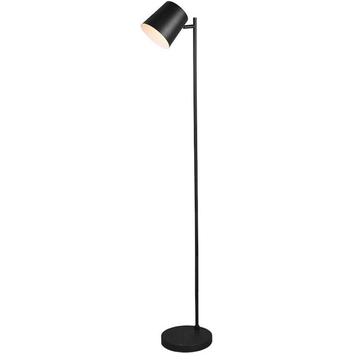 LED Vloerlamp - Trion Blade - 4W - Warm Wit 3000K - Dimbaar - Rond - Mat Zwart - Aluminium