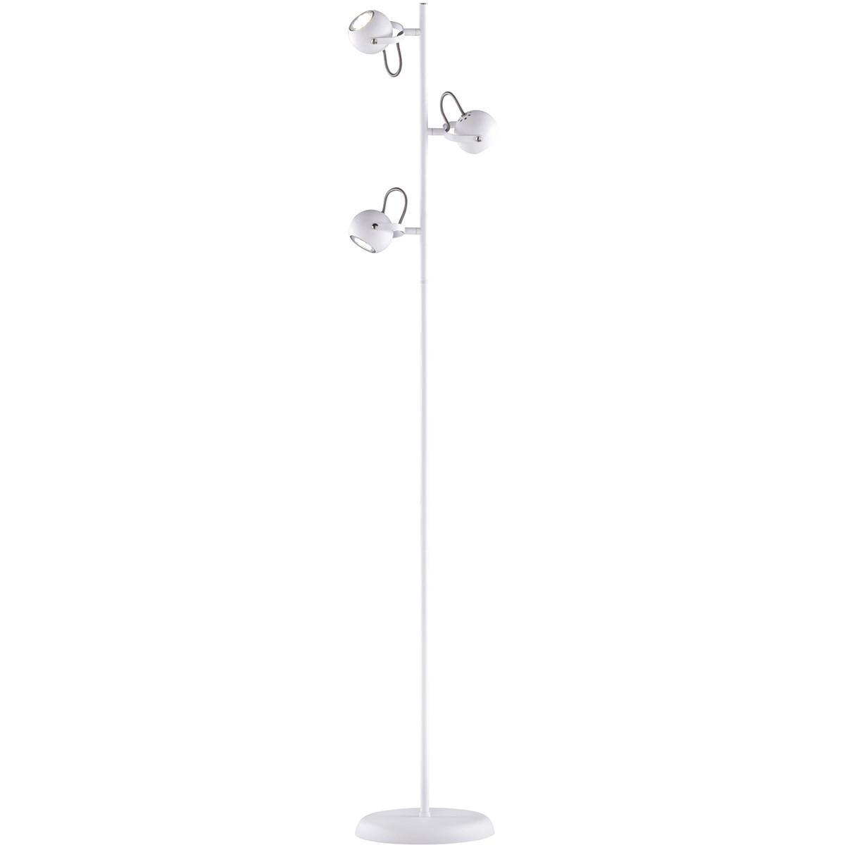 LED Vloerlamp - Trion Bosty - GU10 Fitting - 3-lichts - Rond - Mat Wit - Aluminium