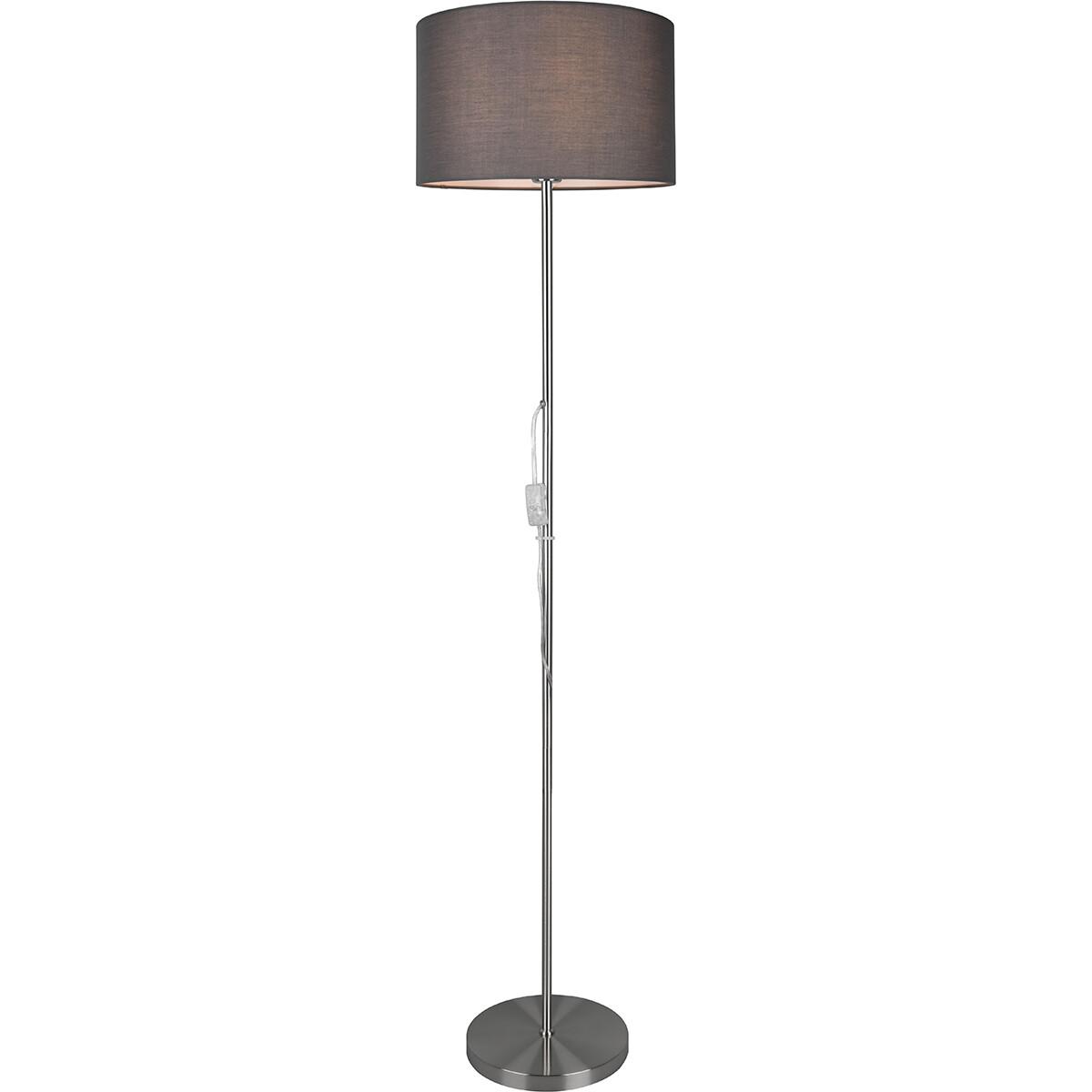 LED Vloerlamp - Trion Candimo - E27 Fitting - Rond - Mat Nikkel - Aluminium