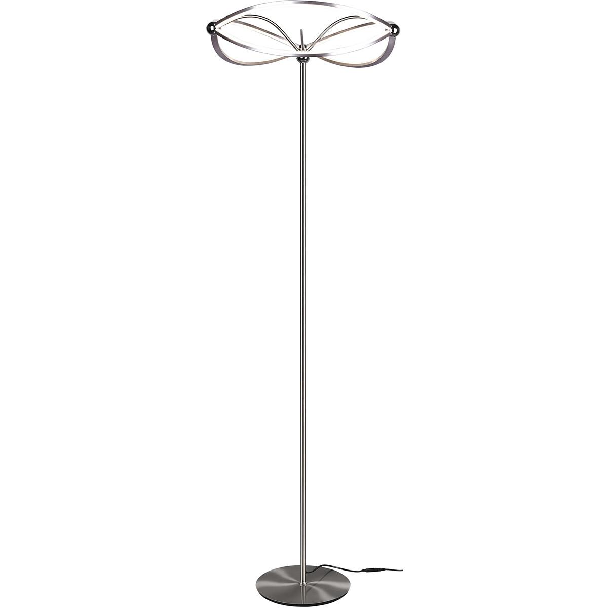 LED Vloerlamp - Trion Charis - 31W - Warm Wit 3000K - Dimbaar - Rond - Mat Nikkel - Aluminium