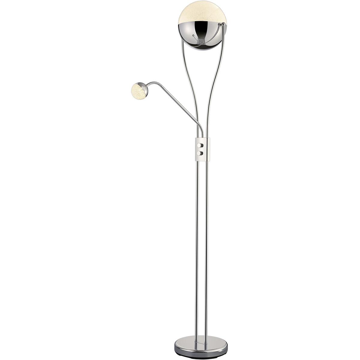 LED Vloerlamp - Trion Chiso - 25W - Warm Wit 3000K - 2-lichts - Dimbaar - Rond - Glans Chroom - Alum