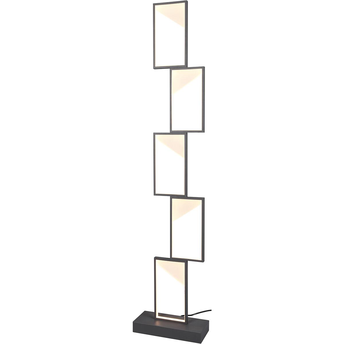 LED Vloerlamp - Trion Civa - 33W - Warm Wit 3000K - Dimbaar - Rechthoek - Mat Zwart - Aluminium