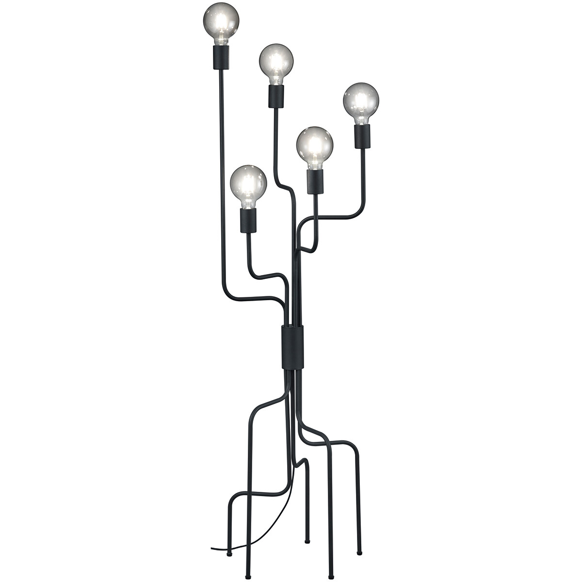 LED Vloerlamp - Trion Conar - E27 Fitting - Rond - Mat Zwart - Aluminium