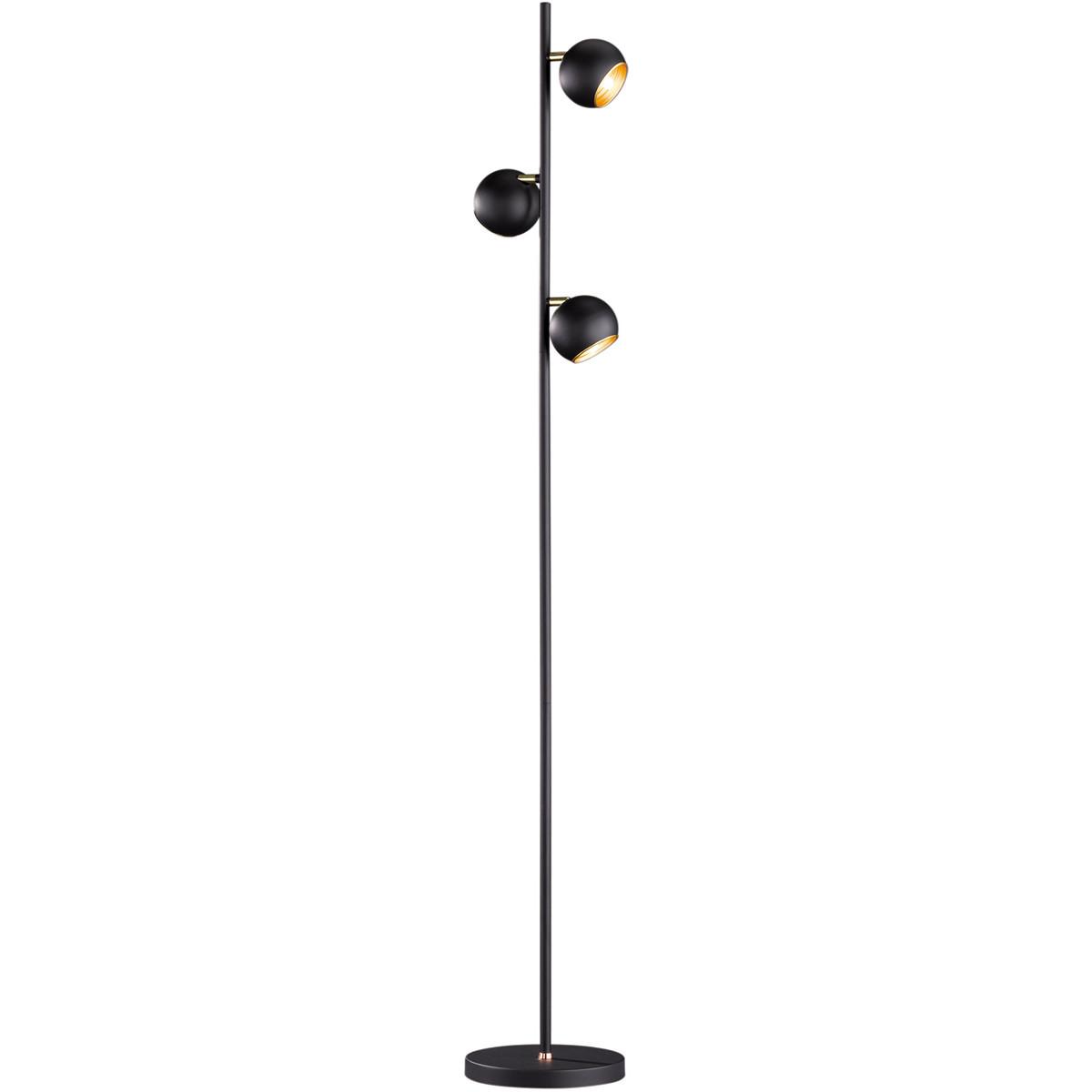 LED Vloerlamp - Trion Dakani - G9 Fitting - 3-lichts - Rond - Mat Zwart - Aluminium