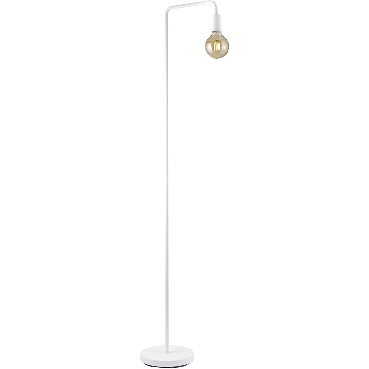 LED Vloerlamp - Trion Dolla - E27 Fitting - 1-lichts - Rond - Mat Wit - Aluminium