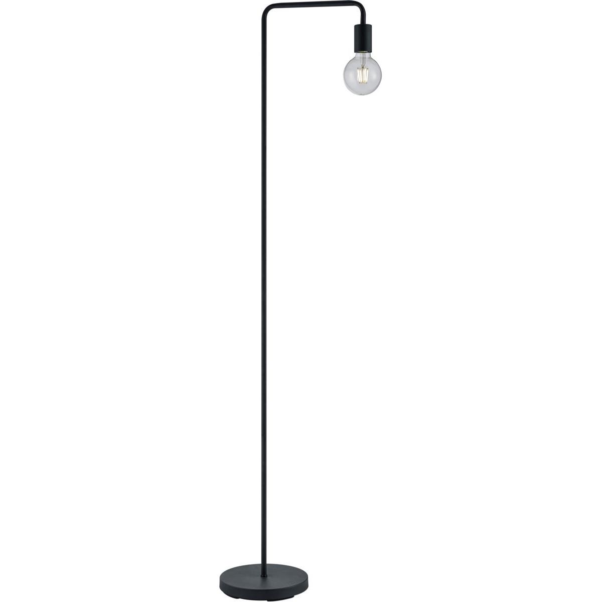 LED Vloerlamp - Trion Dolla - E27 Fitting - 1-lichts - Rond - Mat Zwart - Aluminium