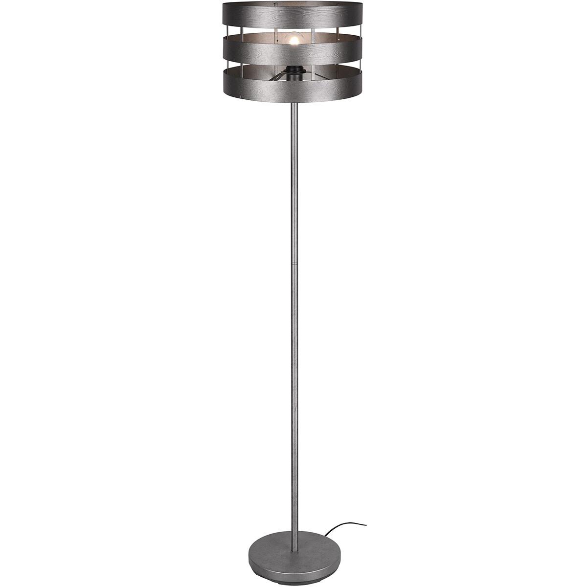 LED Vloerlamp - Trion Doncan - E27 Fitting - Rond - Mat Nikkel - Aluminium
