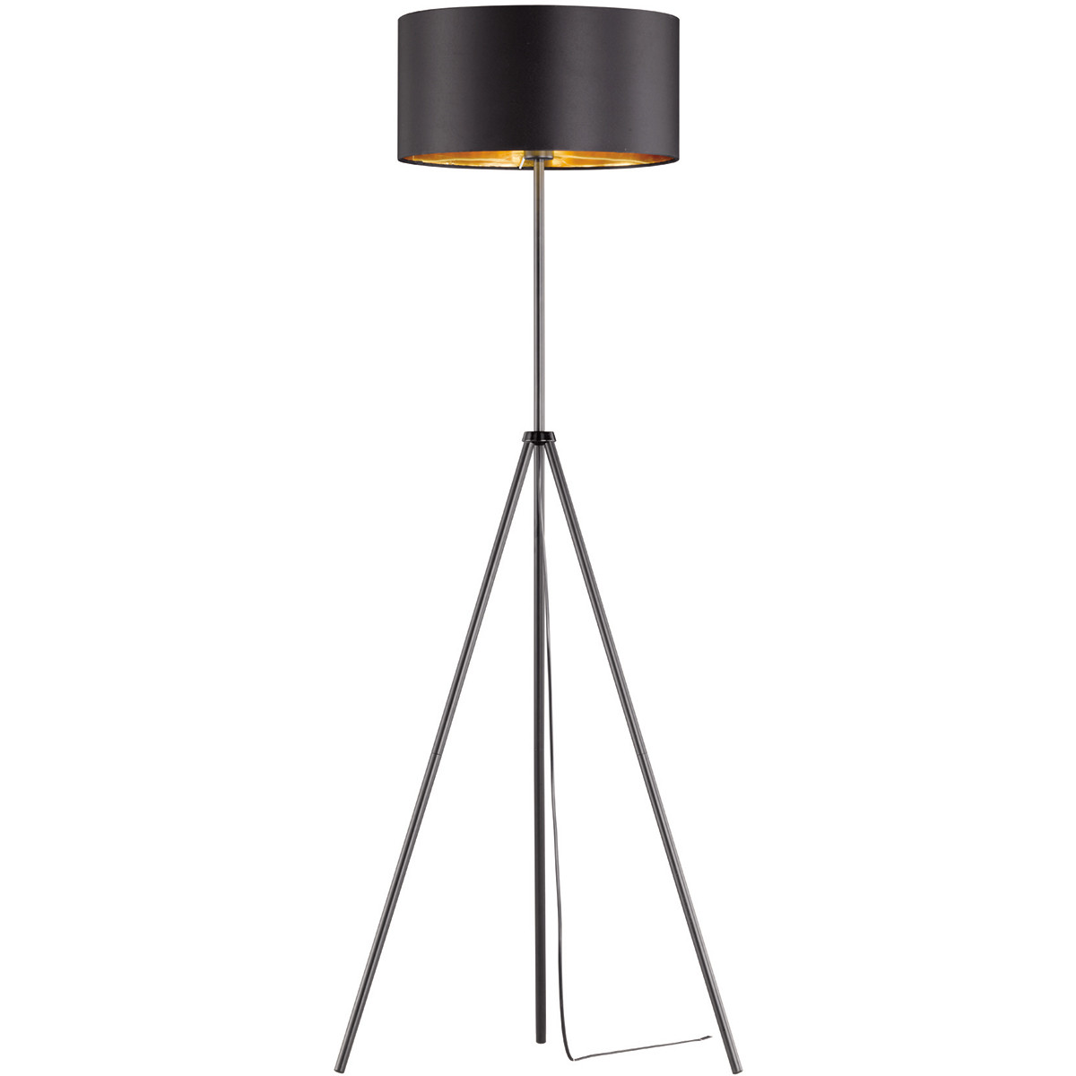 LED Vloerlamp - Trion Duno - E27 Fitting - Rond - Mat Zwart - Aluminium