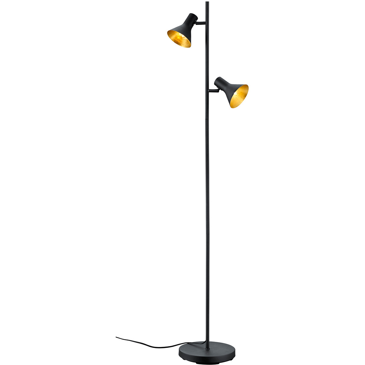 LED Vloerlamp - Trion Nana - E14 Fitting - 2-lichts - Rond - Mat Zwart - Aluminium