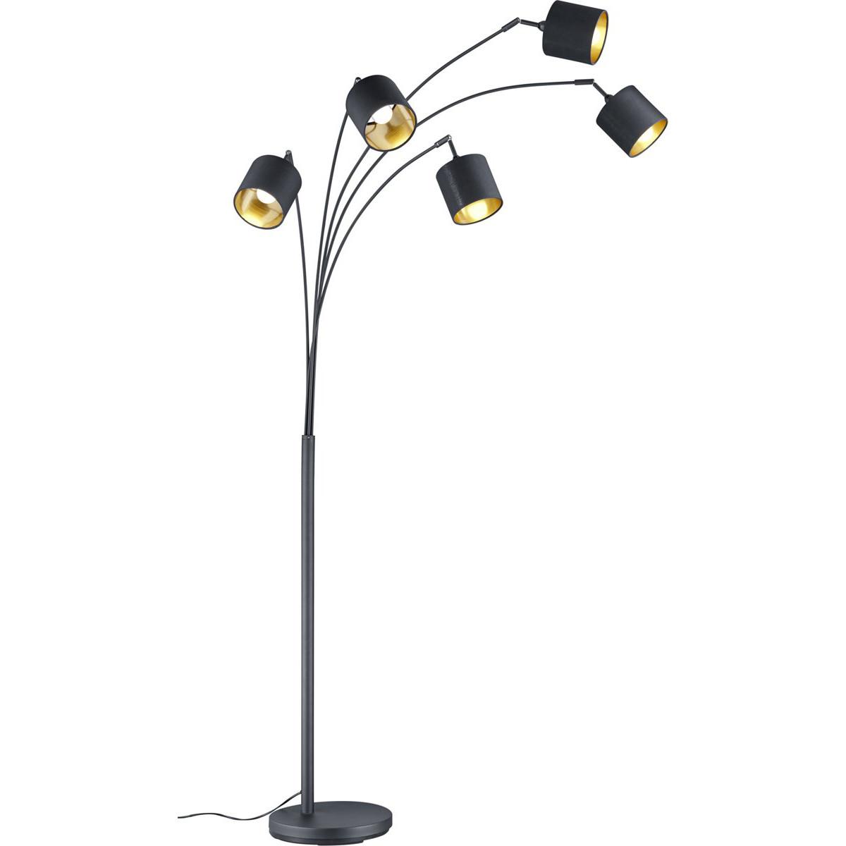 LED Vloerlamp - Trion Torry - E14 Fitting - Rond - Mat Zwart - Aluminium