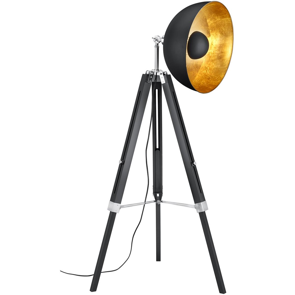 LED Vloerlamp - Trion Legie - E27 Fitting - 1-lichts - Verstelbaar - Rond - Mat Zwart - Hout/Alumini