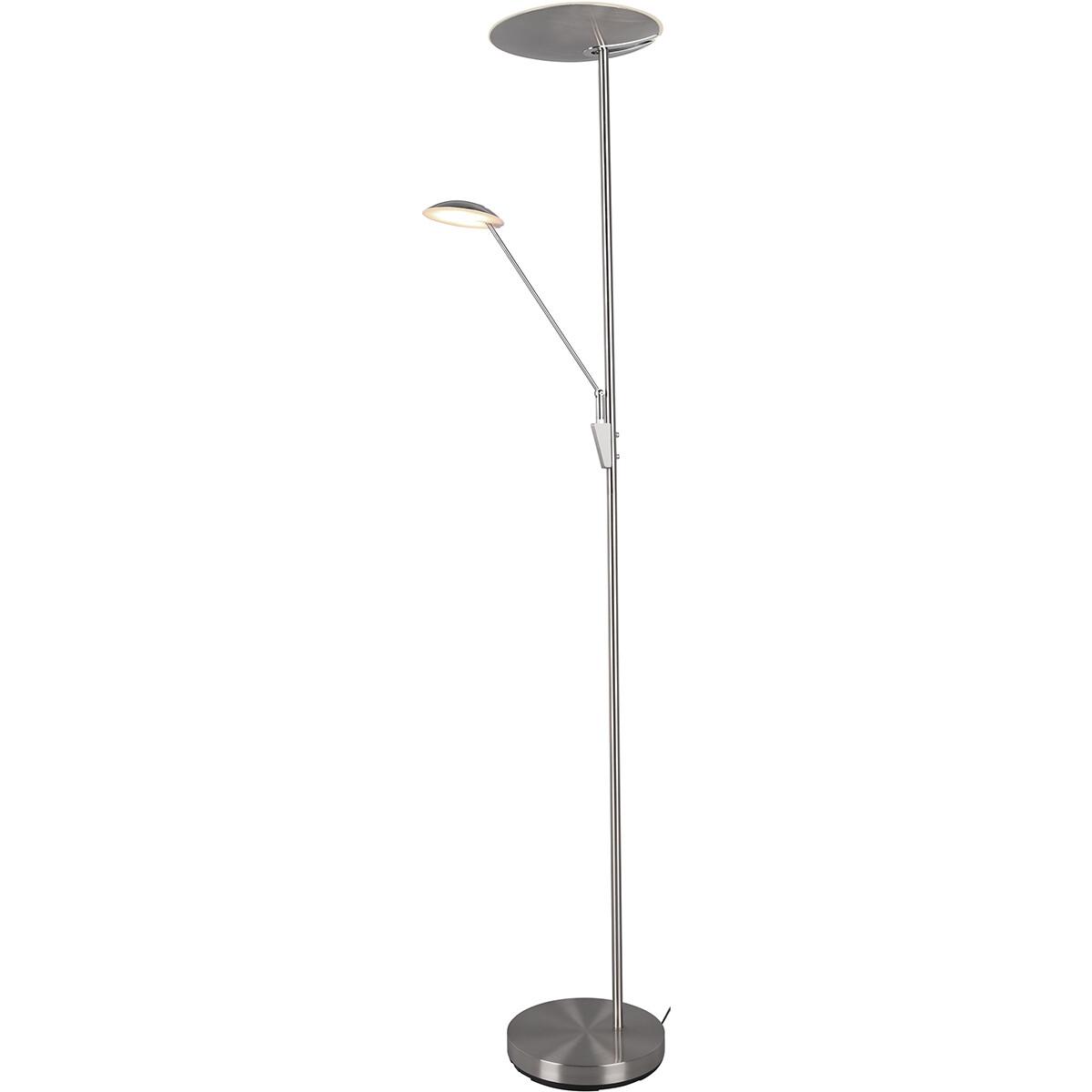 LED Vloerlamp - Trion Eddy - 40W - Aanpasbare Kleur - Rond - Mat Nikkel - Aluminium