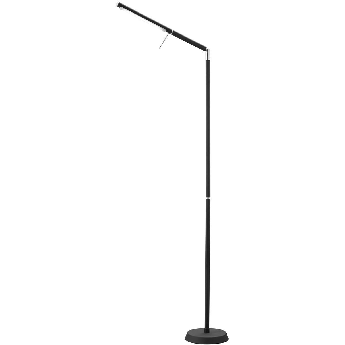 LED Vloerlamp - Trion Filiga - 6W - Warm Wit 3000K - 1-lichts - Dimbaar - Rond - Mat Zwart - Alumini