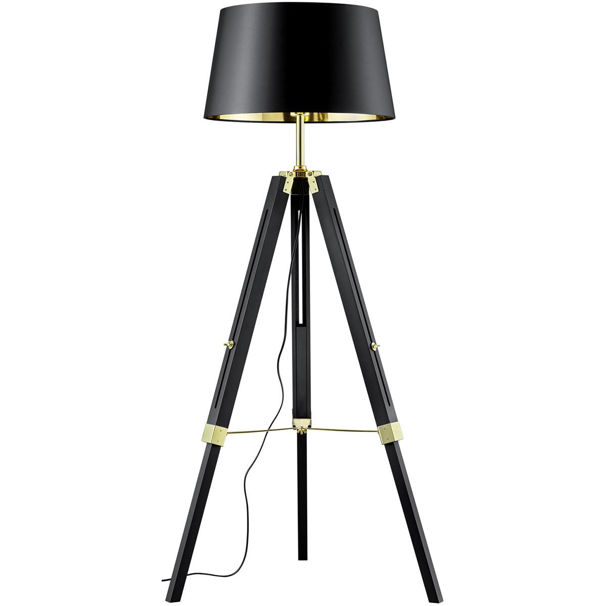 LED Vloerlamp - Trion Gantin - E27 Fitting - 1-lichts - Rond - Mat Zwart - Hout