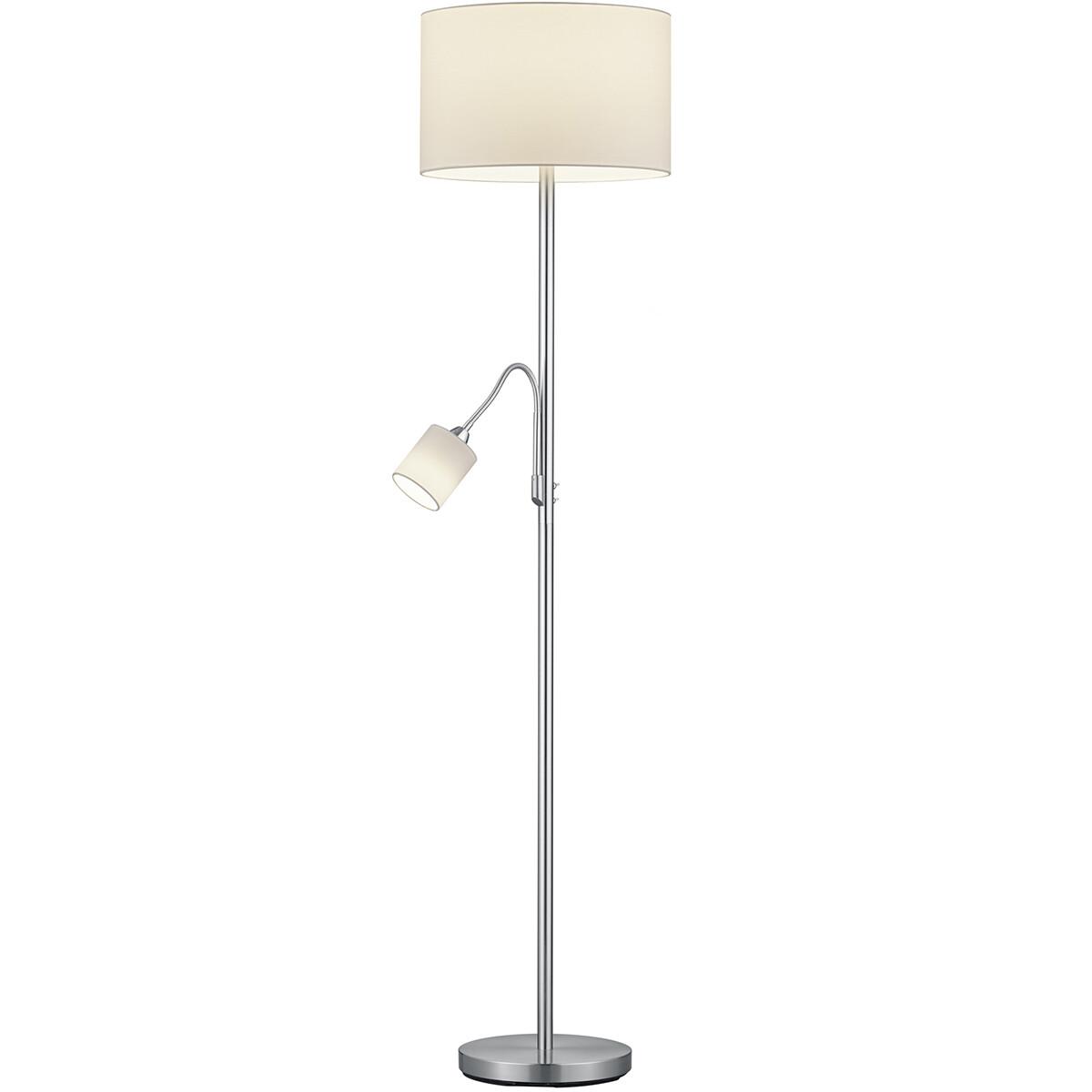 LED Vloerlamp - Trion Hotia - E14 Fitting - Rond - Mat Wit - Aluminium
