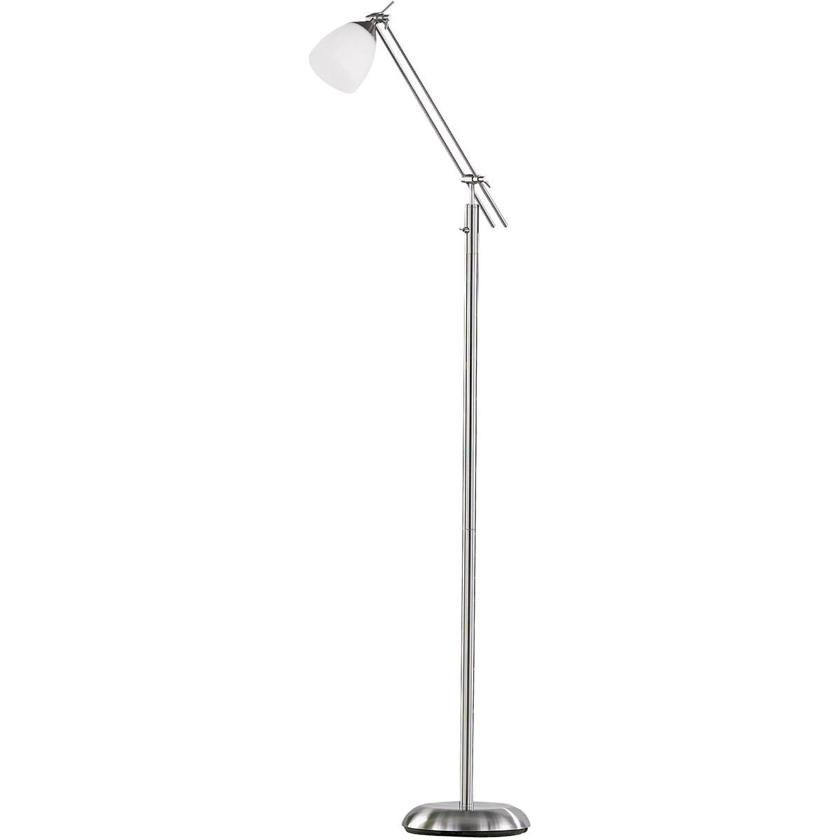 LED Vloerlamp - Trion Ican - E27 Fitting - Rond - Mat Nikkel - Aluminium