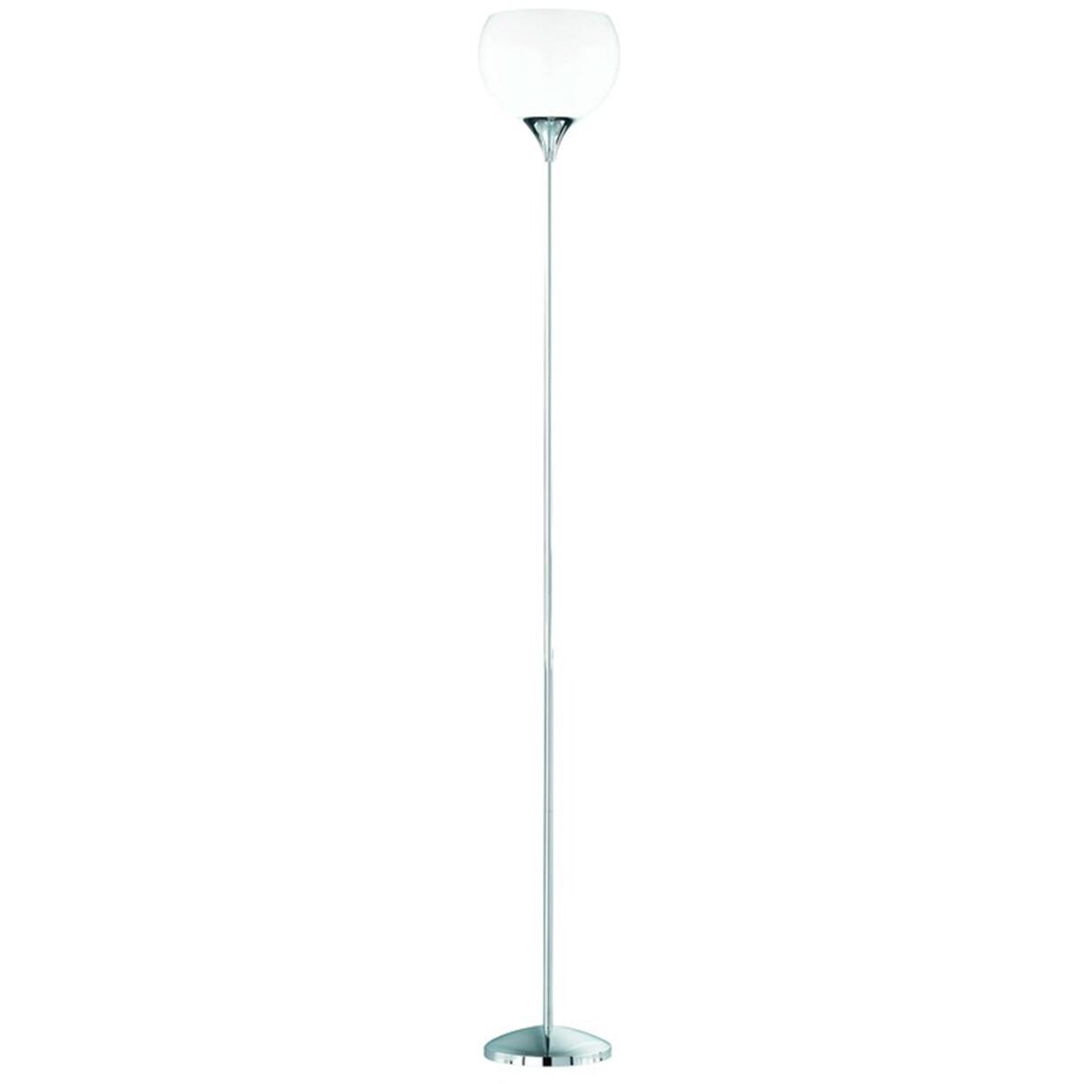 LED Vloerlamp - Trion Junios - E27 Fitting - Rond - Mat Chroom - Aluminium