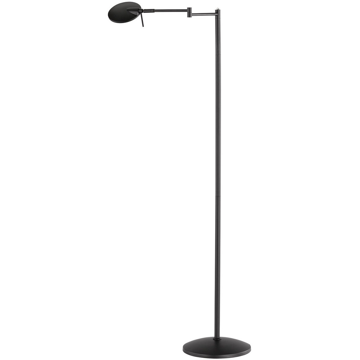 LED Vloerlamp - Trion Kazin - 8W - Warm Wit 3000K - Dimbaar - Rond - Mat Zwart - Aluminium