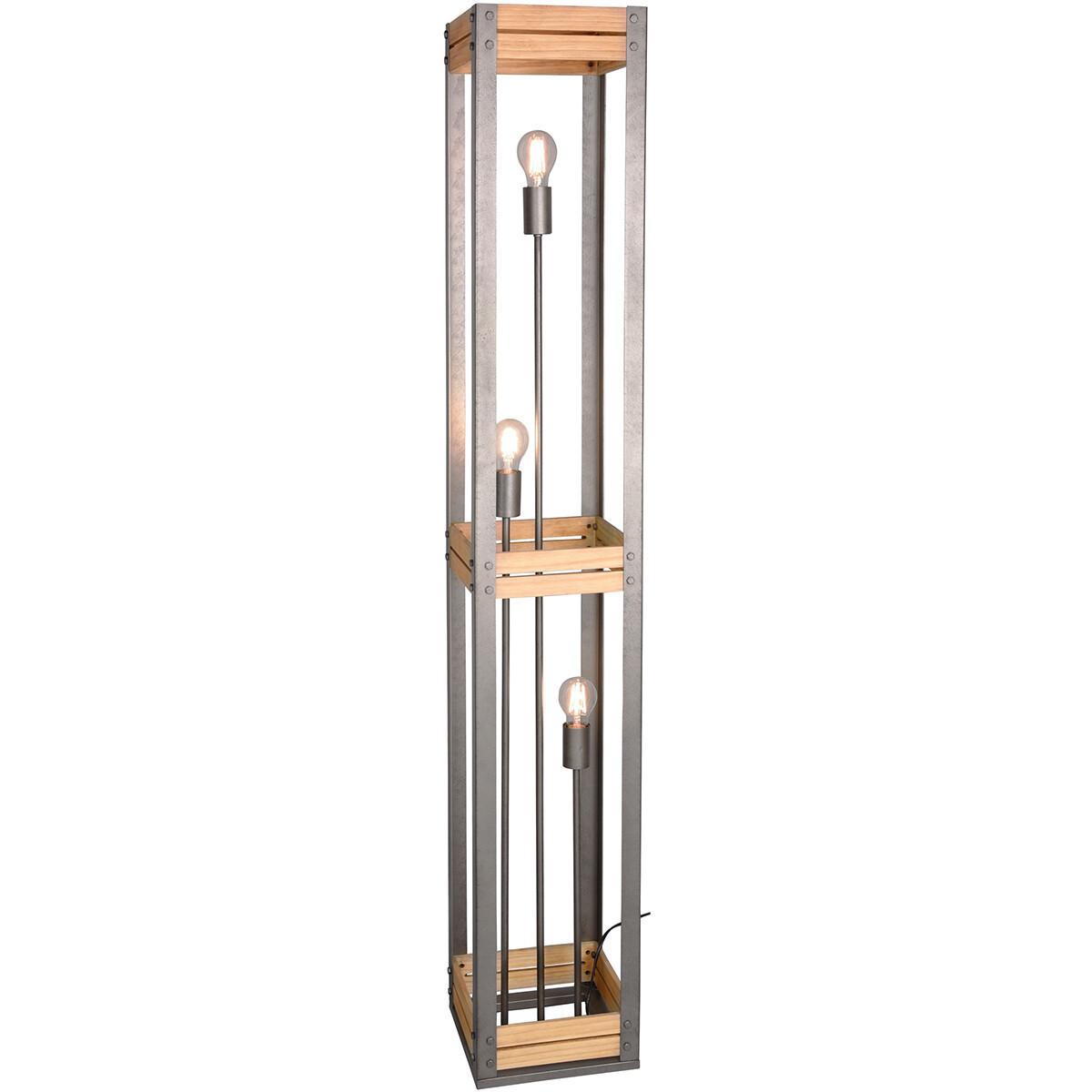 LED Vloerlamp - Trion Khon - E27 Fitting - Rechthoek - Mat Nikkel - Aluminium