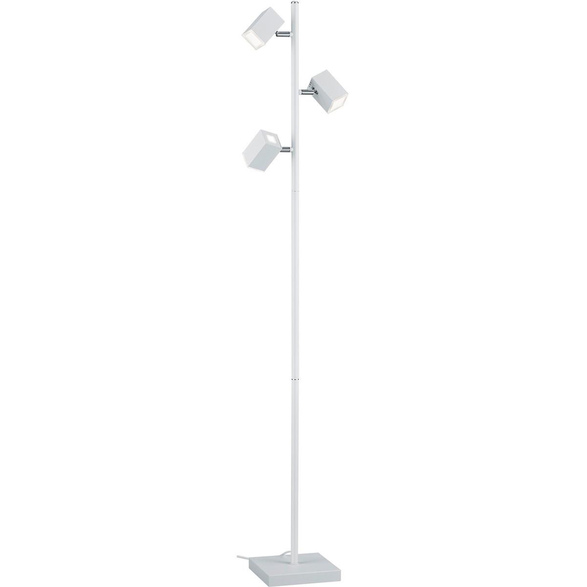 LED Vloerlamp - Trion Laginos - 12W - Warm Wit 3000K - 3-lichts - Dimbaar - Rechthoek - Mat Wit - Al