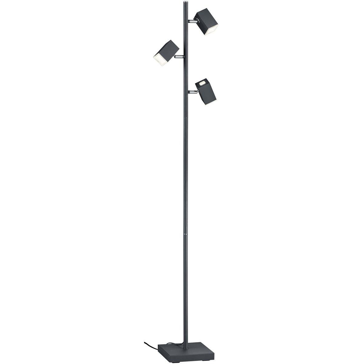 LED Vloerlamp - Trion Laginos - 12W - Warm Wit 3000K - 3-lichts - Dimbaar - Rond - Mat Zwart - Alumi