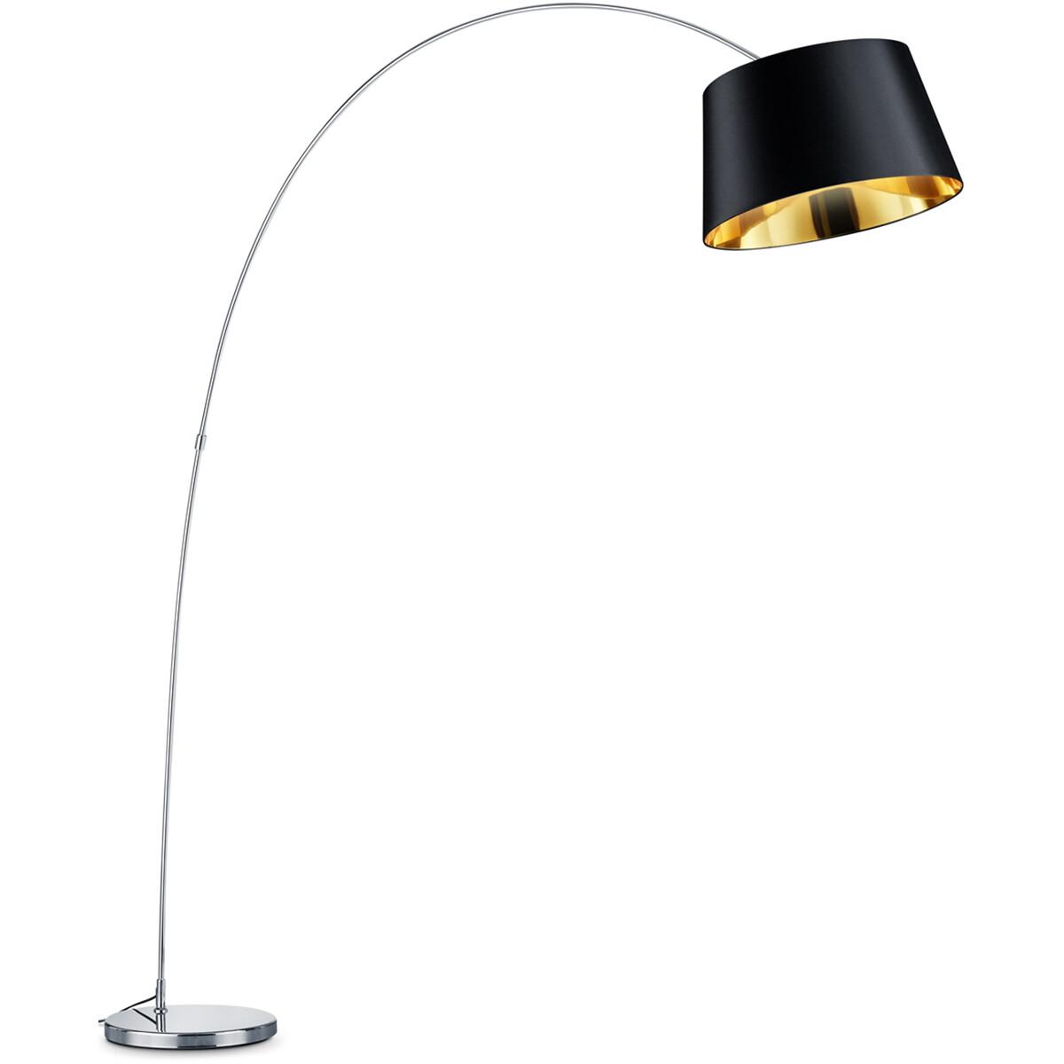 LED Vloerlamp - Trion Linzina - E27 Fitting - Rond - Mat Chroom - Aluminium