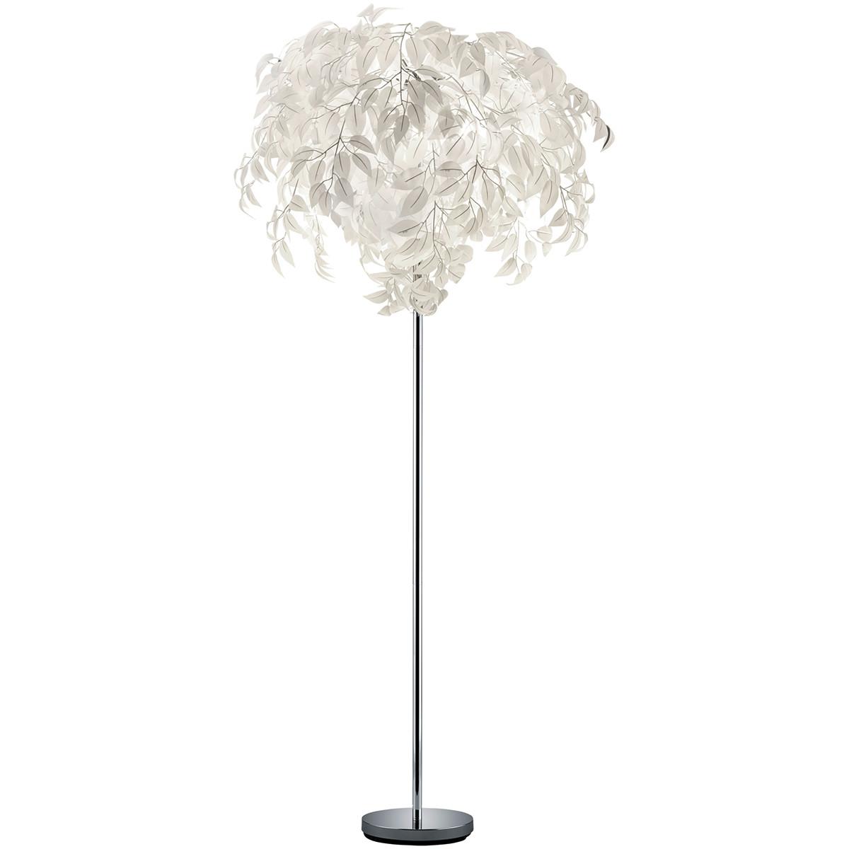 LED Vloerlamp - Trion Lovy - E14 Fitting - 3-lichts - Rond - Glans Chroom - Aluminium